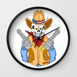 Western Cowboy Skull Wall Clock