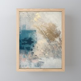 Embrace: a minimal, abstract mixed-media piece in blues and gold with a hint of pink Framed Mini Art Print