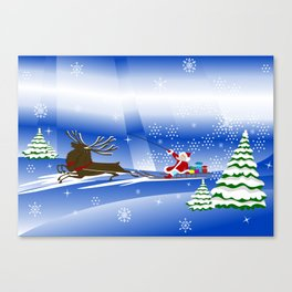 Santa Claus with christmas deer and presents Canvas Print