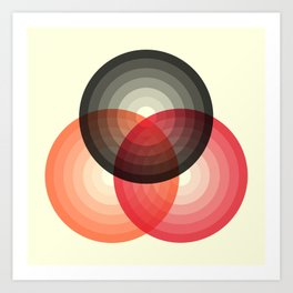 Three colour circles, inspired by Lacouture's Répertoire chromatique Art Print