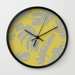 Palm Leaves Retro Gray on Mod Yellow Wall Clock