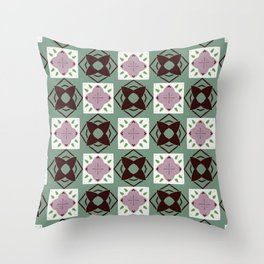 Steinway trinkets purple on green pattern Throw Pillow