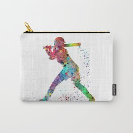 Baseball Softball Player Sports Art Print Watercolor Print Girl's softball Carry-All Pouch