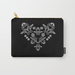'Love' -  Heart of lace in black and white Carry-All Pouch