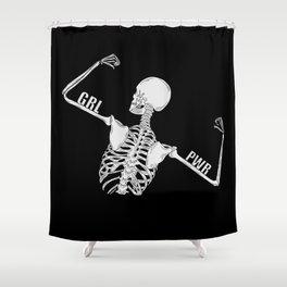 Girl Power Skeleton Illustration Shower Curtain