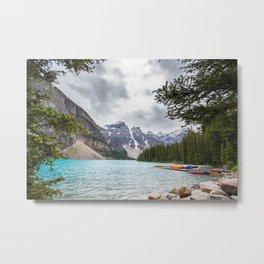 Canoes in Banff Metal Print