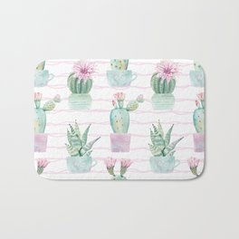 Cute Potted Cacti Stripe Pattern Bath Mat