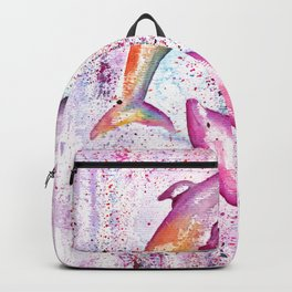 Dolphins Painting Illustration Backpack