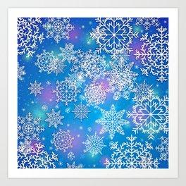 Snowflake background blue purple Art Print