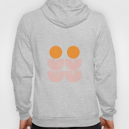 Mid Century Modern Geometric 44 in Coral Orange (Rainbow and Sun Abstraction) Hoody