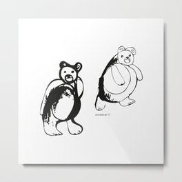 Two little bears pattern, design for kids, black and white drawig Metal Print