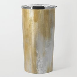 Gold and White Abstract Painting Travel Mug