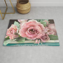 Roses Pink Peach Romantic Rose Flowers Gardening Decor Rug