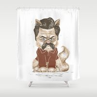swanson Shower Curtains featuring Ron Swanson Cat  by Suzanne Head