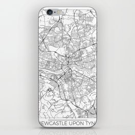Newcastle Upon Tyne Map White iPhone Skin