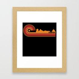 Retro Style Champaign Illinois Skyline Framed Art Print