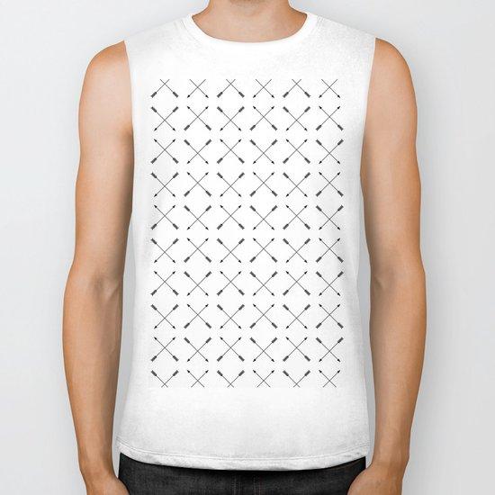 Crossed Arrows Pattern - Black and white Biker Tank