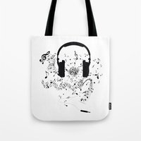 music notes Tote Bags featuring Headphones and Music Notes by JuyoDesign