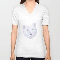 westie V-neck T-shirts featuring Westie by belgoldie