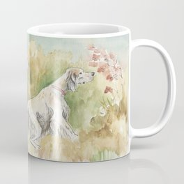 ENGLISH SETTERS in the field Hunting scene Watercolor and ink painting Coffee Mug