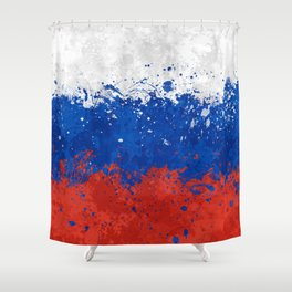 Russian Flag - Messy Action Painting Shower Curtain