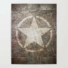 Army Star on Distressed Riveted Metal Door Poster