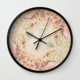 Dreamy Autumn Hydrangea Flowers Still Life Wall Clock