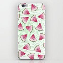 Summery Cute Watercolor Watermelons on Green Swirl iPhone Skin