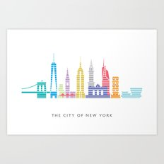 New York Skyline White Art Print
