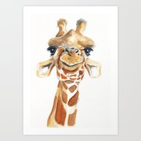 giraffe Art Prints featuring Giraffe  by Tussock Studio