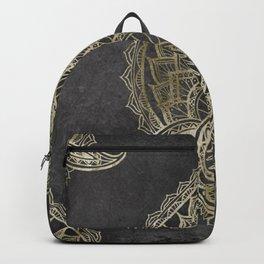 Tribal lineart mandala geometric gold pattern Backpack