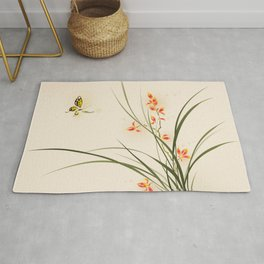 Oriental style painting - orchid flowers and butterfly 003 Rug