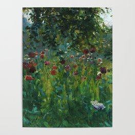 Red, blue, white & purple poppy blossom fields floral landscape painting by Herbert Arnould Oliver Poster