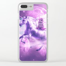 Kitty Cat Riding On Flying Space Galaxy Unicorn Clear iPhone Case