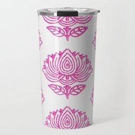 Pink Indian Woodblock Lotus Pattern Travel Mug