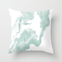 Moki - spilled ink japanese printmaking marble paper mint pastel watercolor painting abstract  Throw Pillow