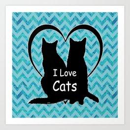 I Love Cats Silhouette Art Print