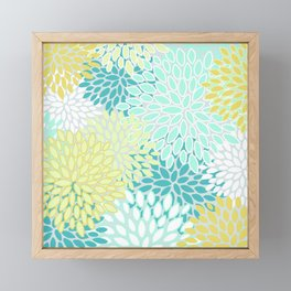 Festive Floral Prints, Teal, Turquoise and Yellow Framed Mini Art Print
