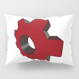 Red toothed wheel in perspective - Vector Pillow Sham