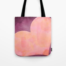 Pantone Conch Shell Pink 15-1624 Heart in Corner Purple Watercolor Abstract Art Tote Bag