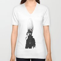 tokyo ghoul V-neck T-shirts featuring Tokyo Ghoul- Kaneki by Ren Flexx