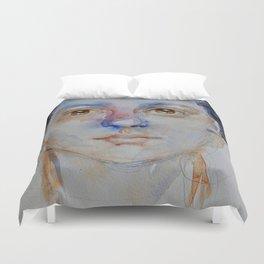 Blue girl, painting Duvet Cover