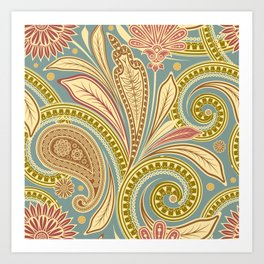 Boho Paisley and Floral Pattern Art Print