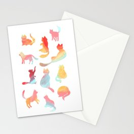 Cat Silhouette Collage with Rainbow Colours Stationery Cards