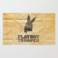 trooper Area & Throw Rugs featuring playboy trooper  by Vin Zzep