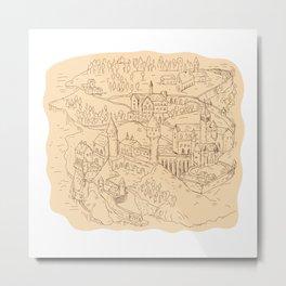 Medieval Fantasy Map Drawing Metal Print