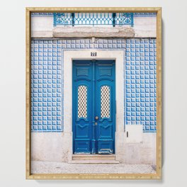 The blue door of Lisbon | Portugal fine art travel photography print Serving Tray