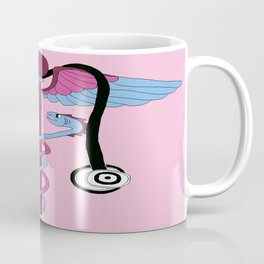 medical caduceus and stethoscope, pink Coffee Mug