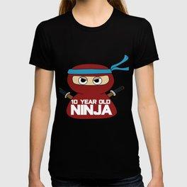 Birthday Ninja Party Samurai Ninjas Gift Japanese Ninja stars Fighter Gift 10th  T-shirt
