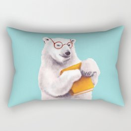 Smart Polar Bear Book Lover Rectangular Pillow